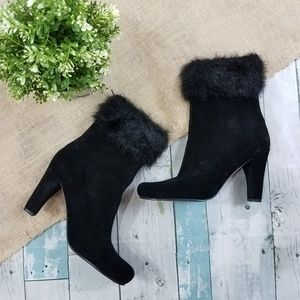 Sam & Libby Black Suede Faux Fur Sandi Heeled Boot